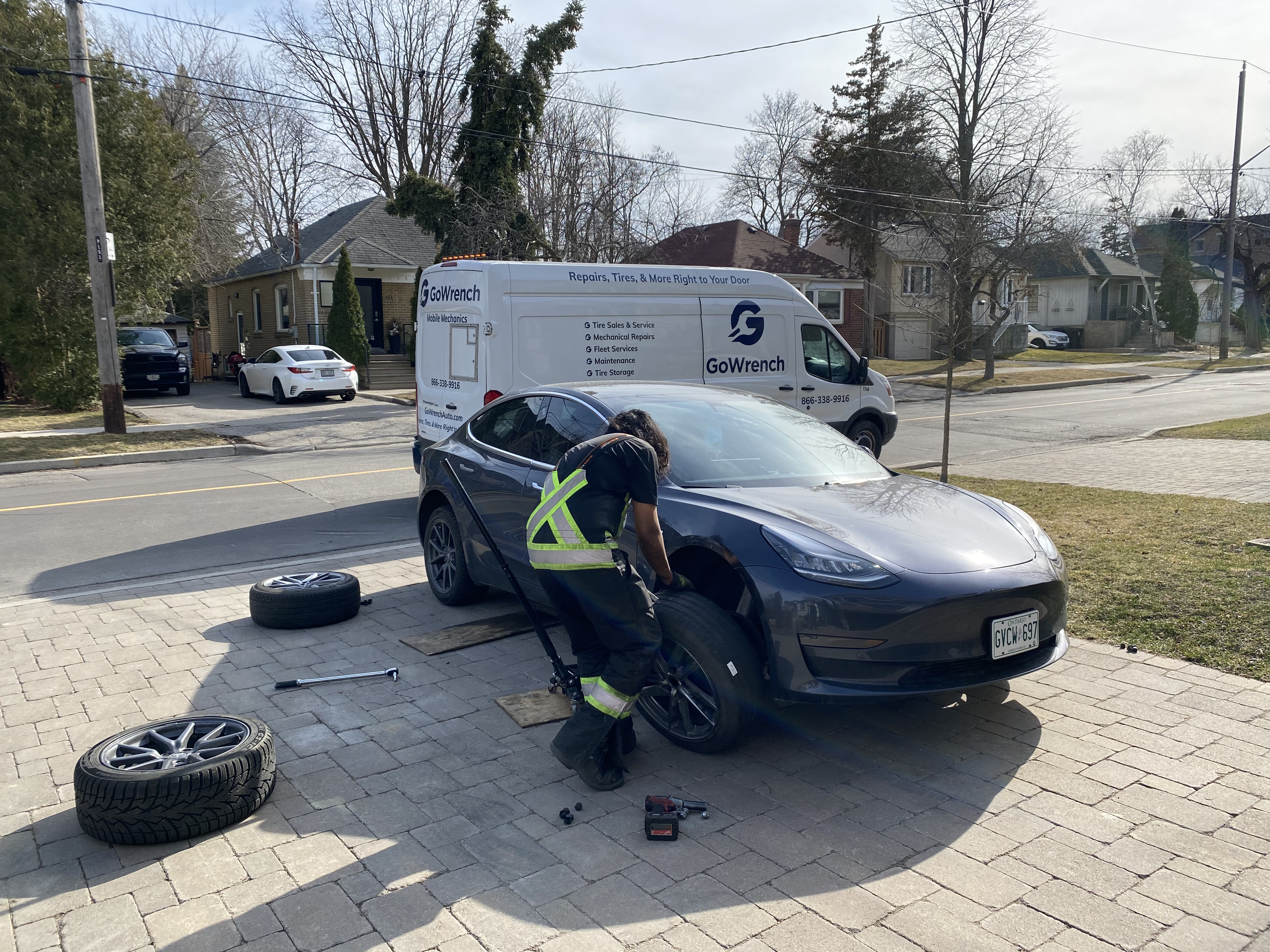 Tire Swap for a Tesla - done by GoWrench Auto